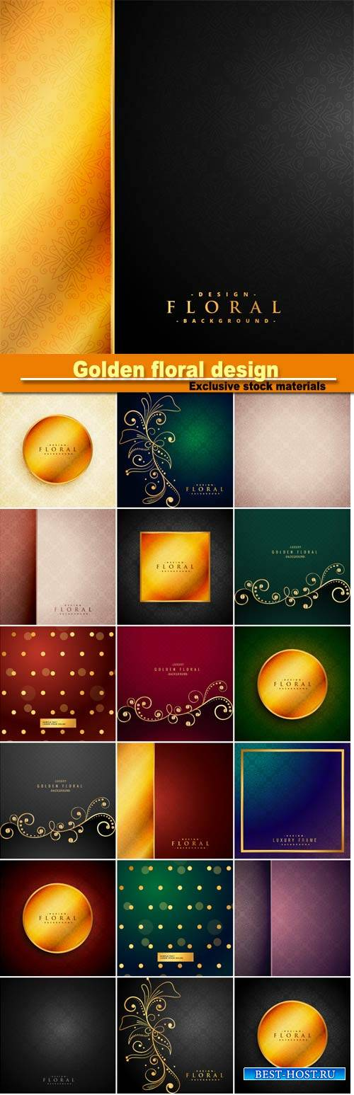 Golden floral design, wintage background, golden