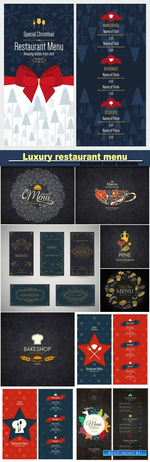 Set of vintage luxury greeting restaurant menu design template