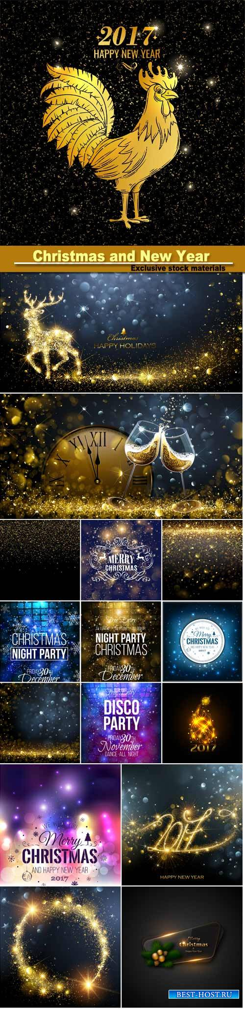 Christmas and New Year background with snowflakes, light, stars, vector ill ...