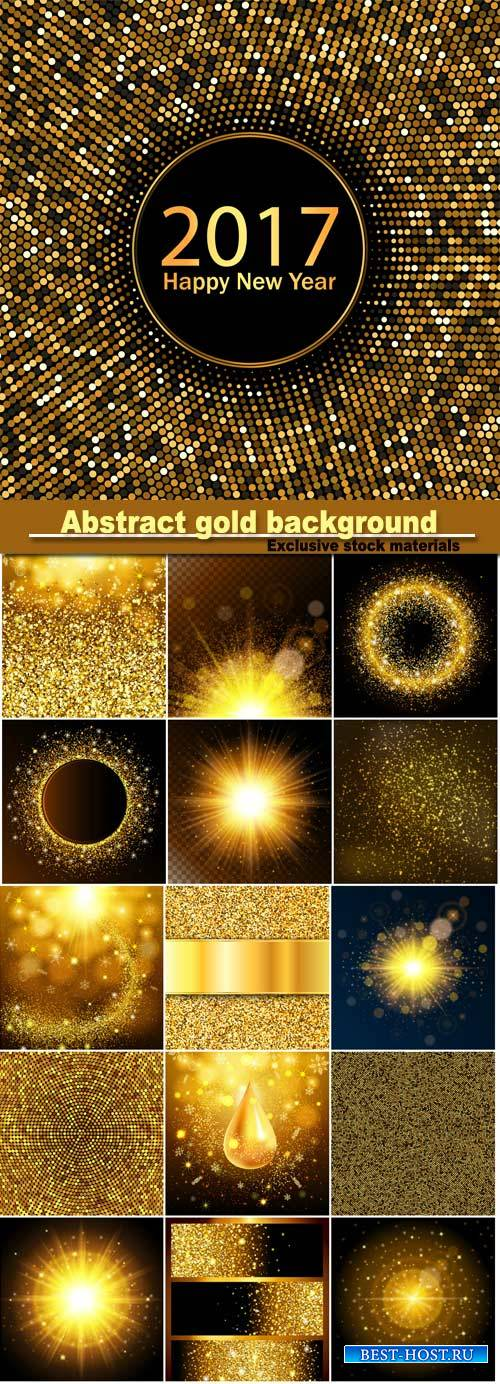 Abstract gold background, golden sparkling sequins, set design template inv ...