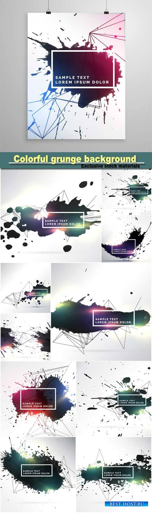 Abstract colorful ink grunge background