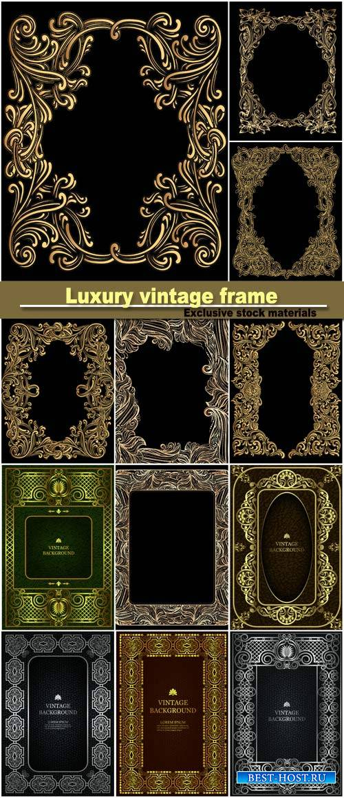 Vector luxury vintage border in the baroque style with gold floral pattern