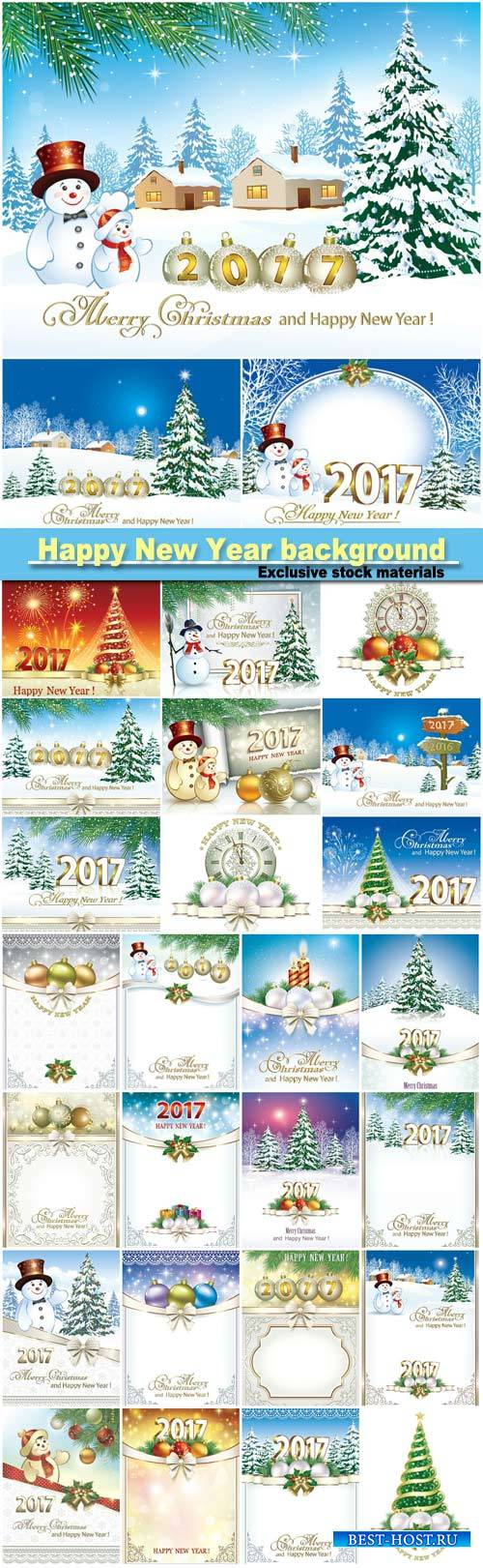 Happy new year 2017, Christmas design template
