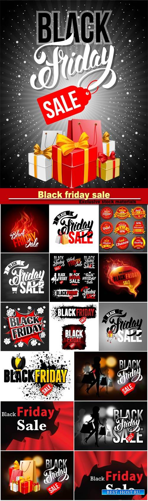 Black friday sale, vector labels set