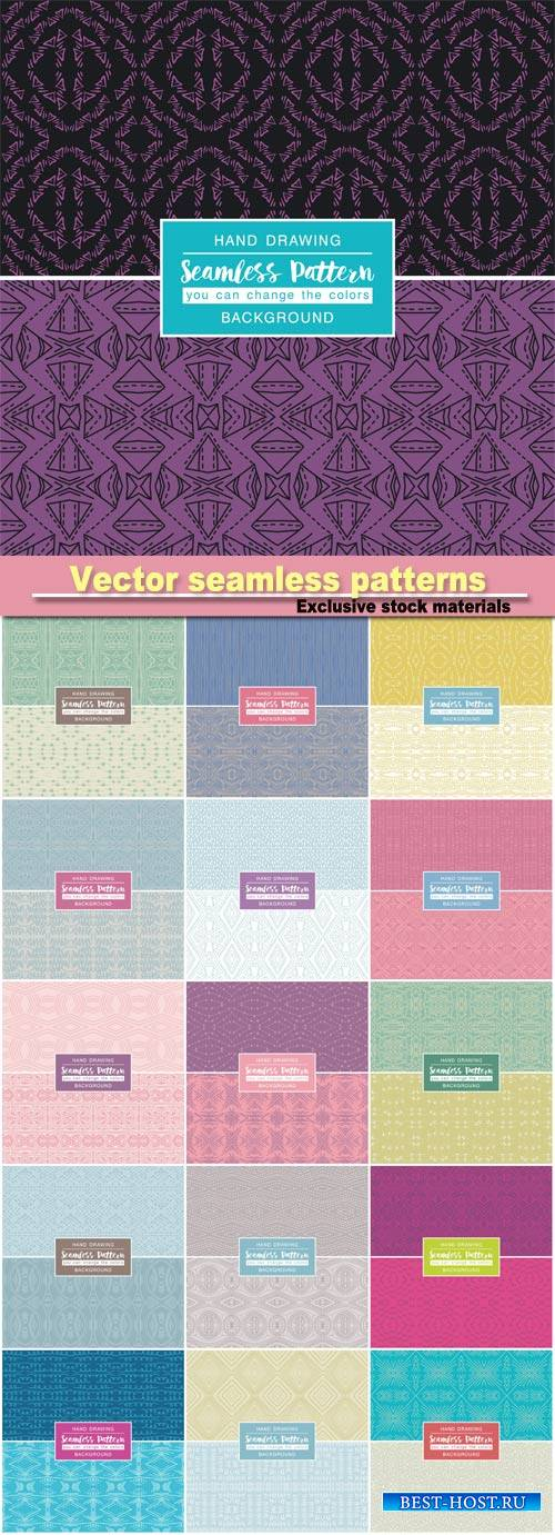 Vector backgrounds with seamless patterns, ideal for printing onto fabric a ...