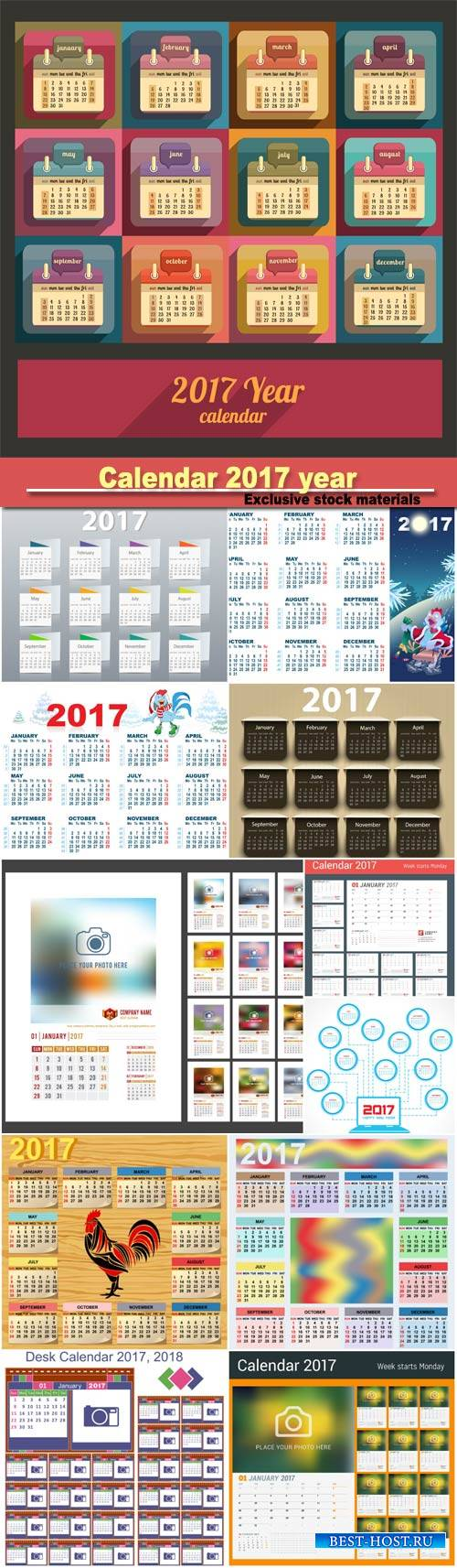Calendar 2017 year vector design template