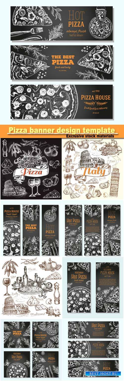 Pizza banner design template, flyer design collection, drawn vector illustr ...