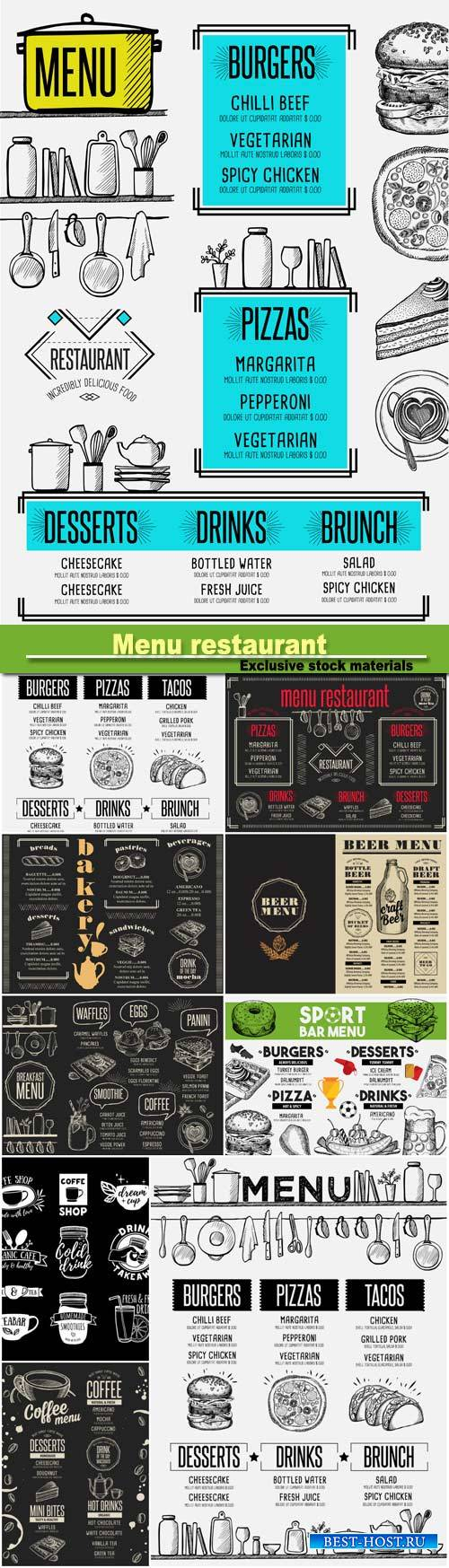 Menu breakfast restaurant, food template