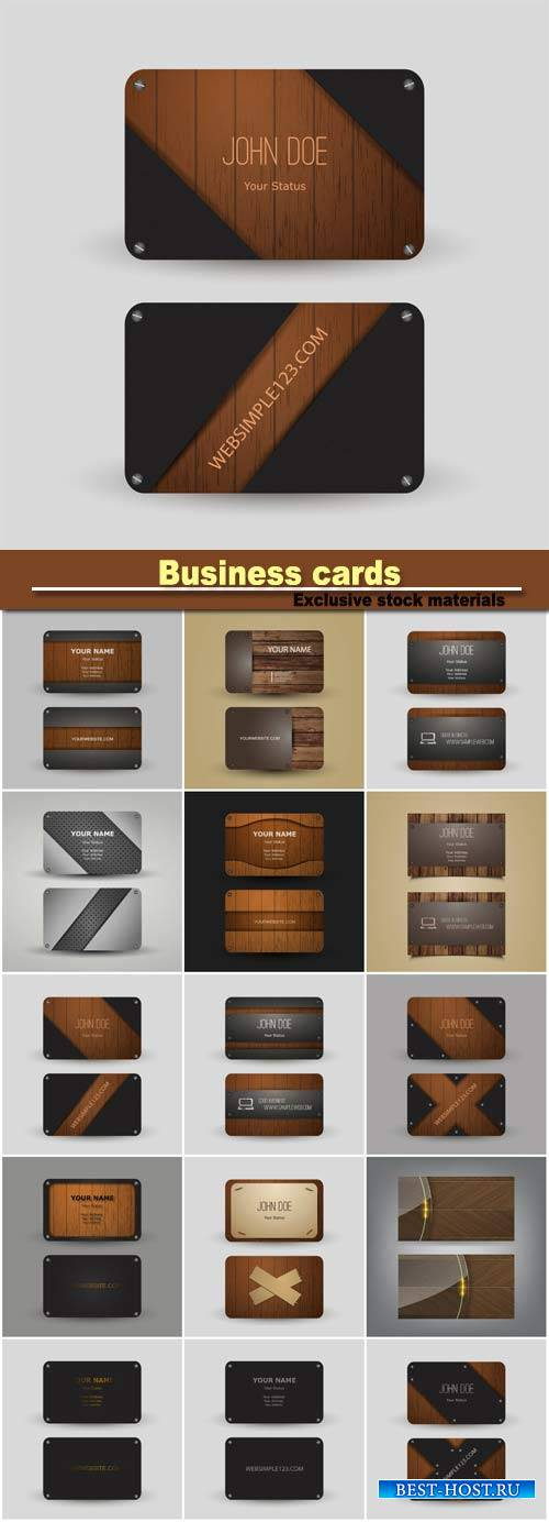 Business cards stylish wooden texture
