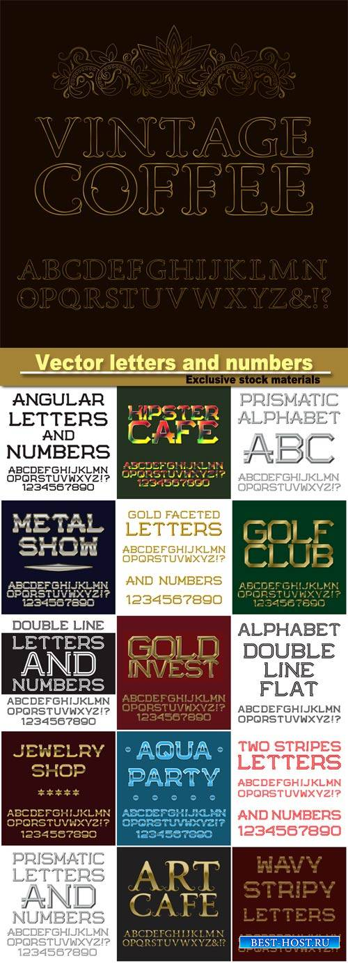 Vector gold letters and numbers, english alphabet