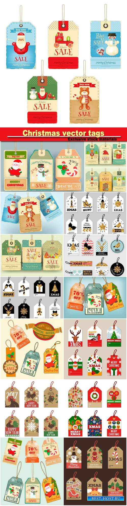 Set of Christmas and New Year tag vector