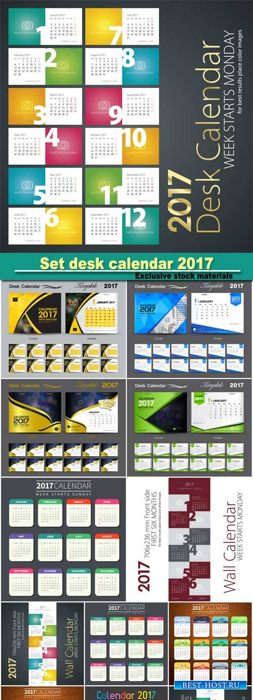 Set desk calendar 2017 template design, cover desk calendar, flyer design
