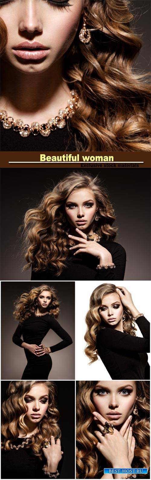Gorgeous young girl with wavy hair and trendy makeup, beautiful gold jewelr ...