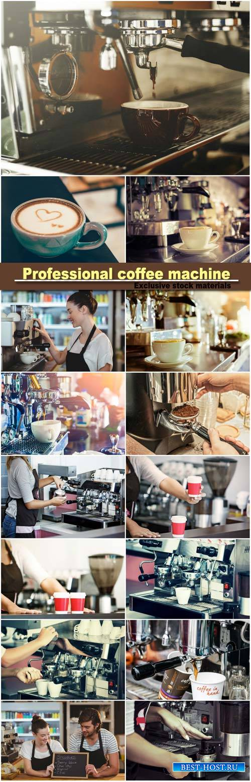 Professional coffee machine, fresh coffee