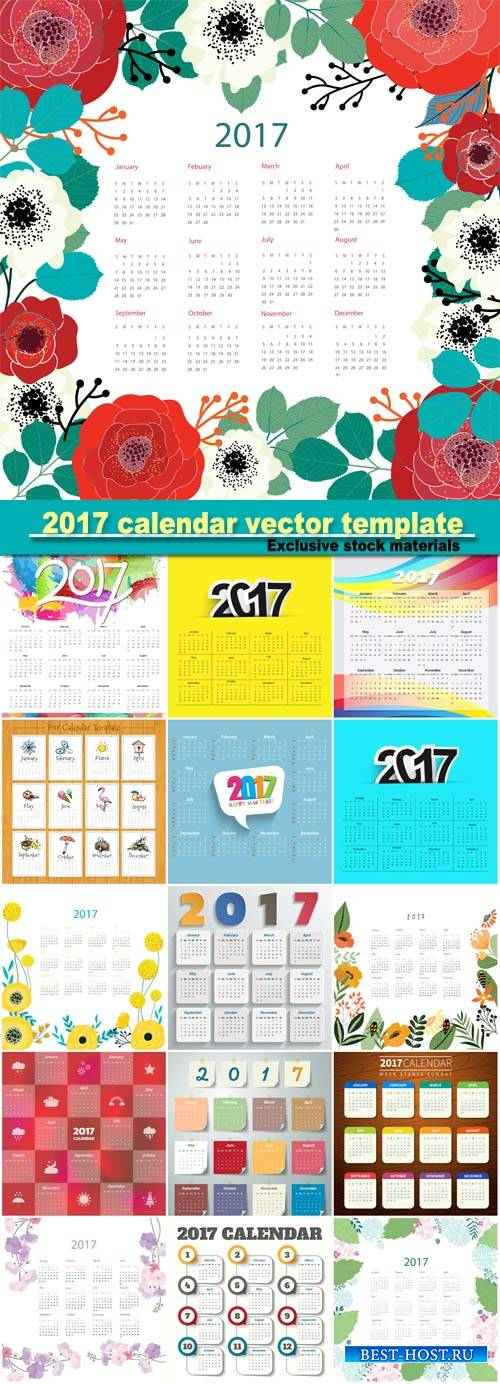 2017 calendar vector template, floral design