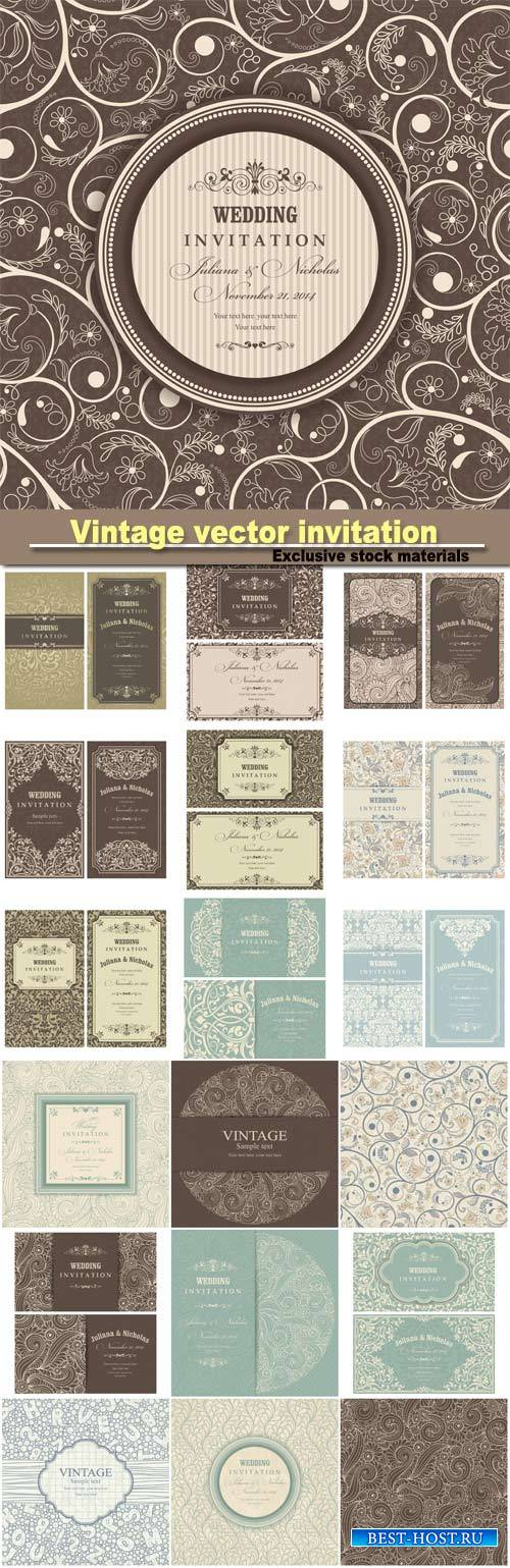 Vintage invitation, vector background, seamless texture