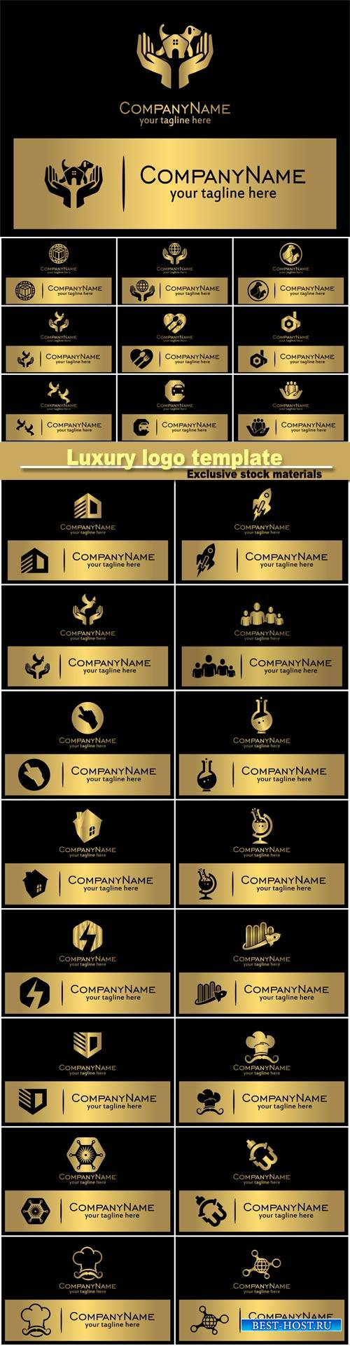 Luxury logo template, black with gold design