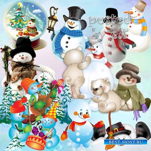 Веселые снеговики в PNG