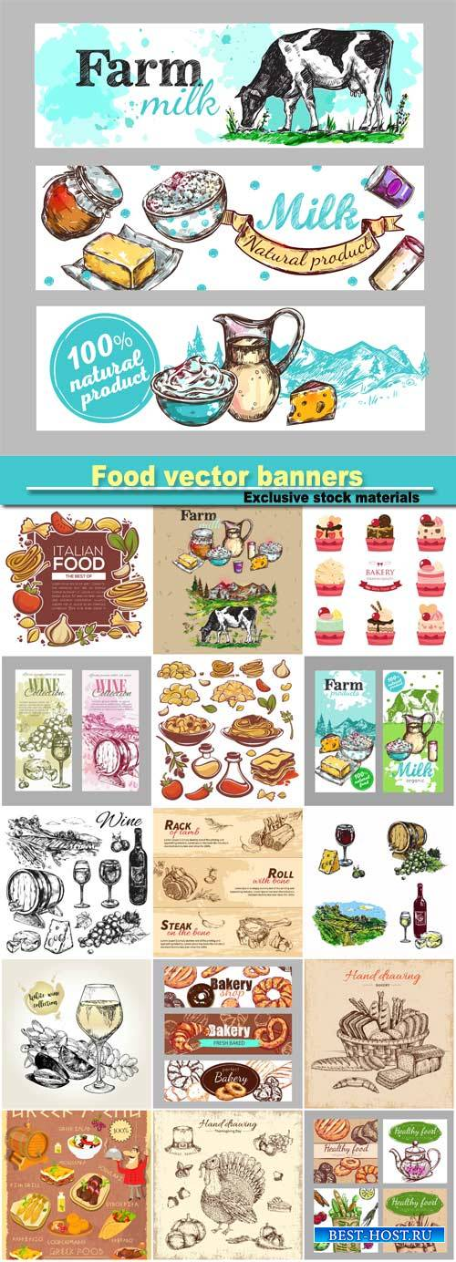 Food vector banners and icons