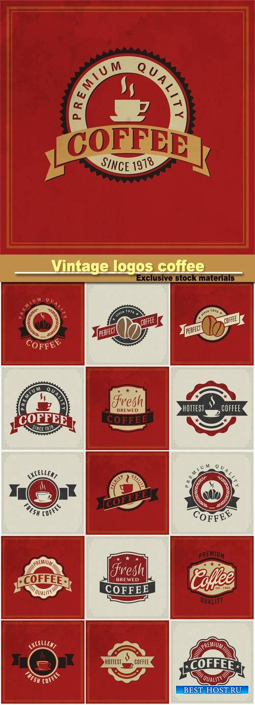 Vintage logos coffee, badge and other design