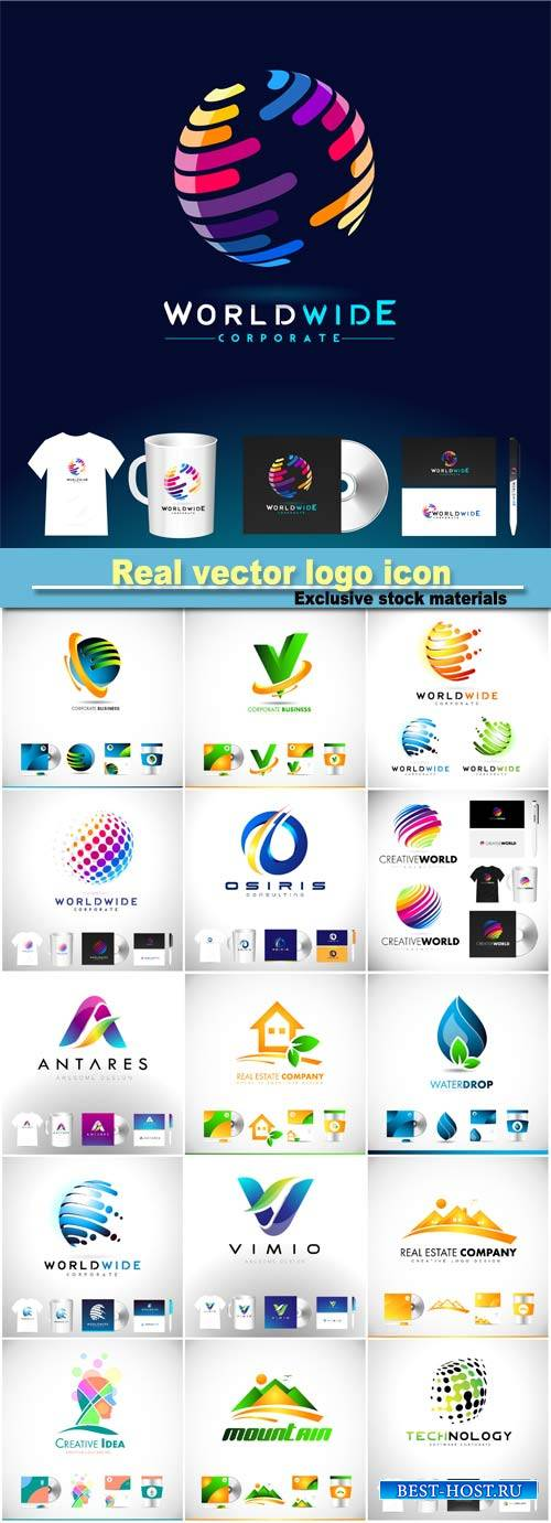 Real vector logo icon, design template corporate identity