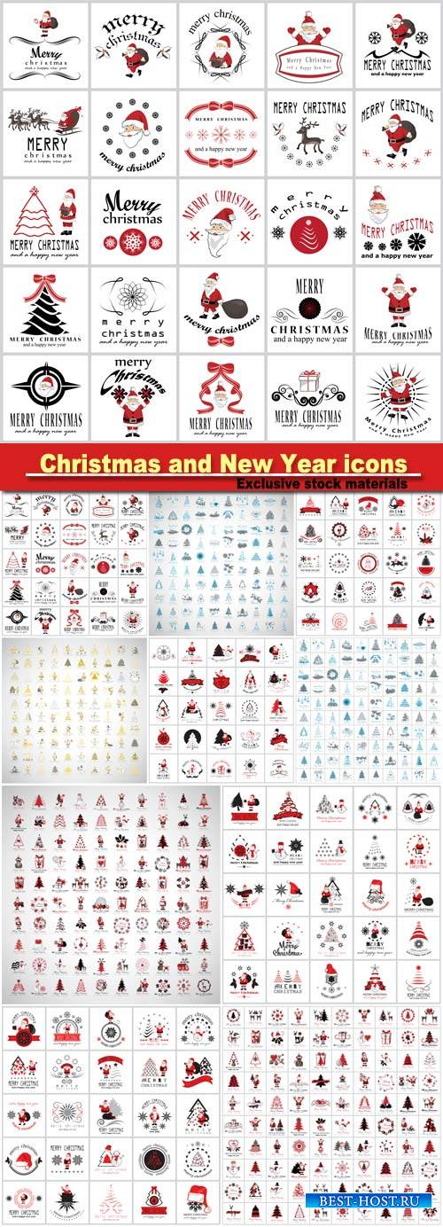 Vector set of Christmas and New Year icons