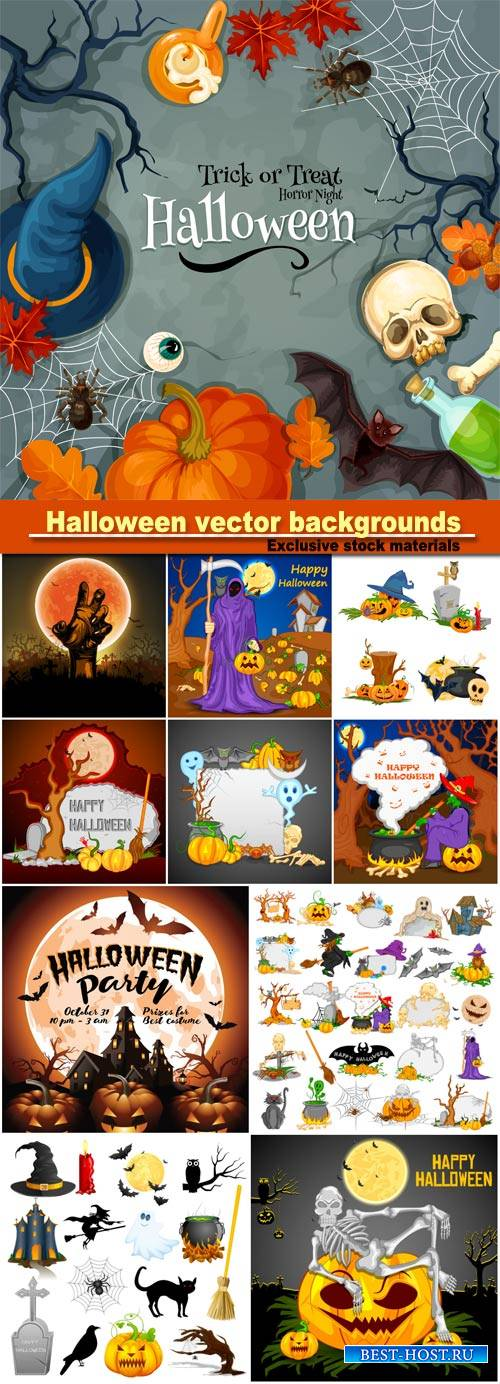 Halloween vector backgrounds, vector illustration of Halloween object