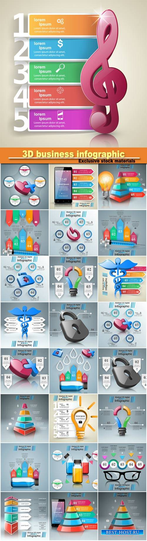 3D business infographic design template and marketing icons, vector illustr ...