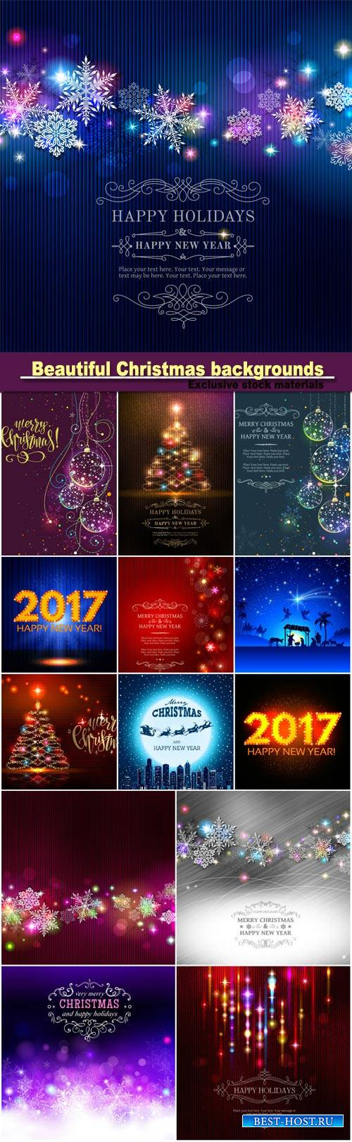Christmas backgrounds, sparkling elements, snowflakes