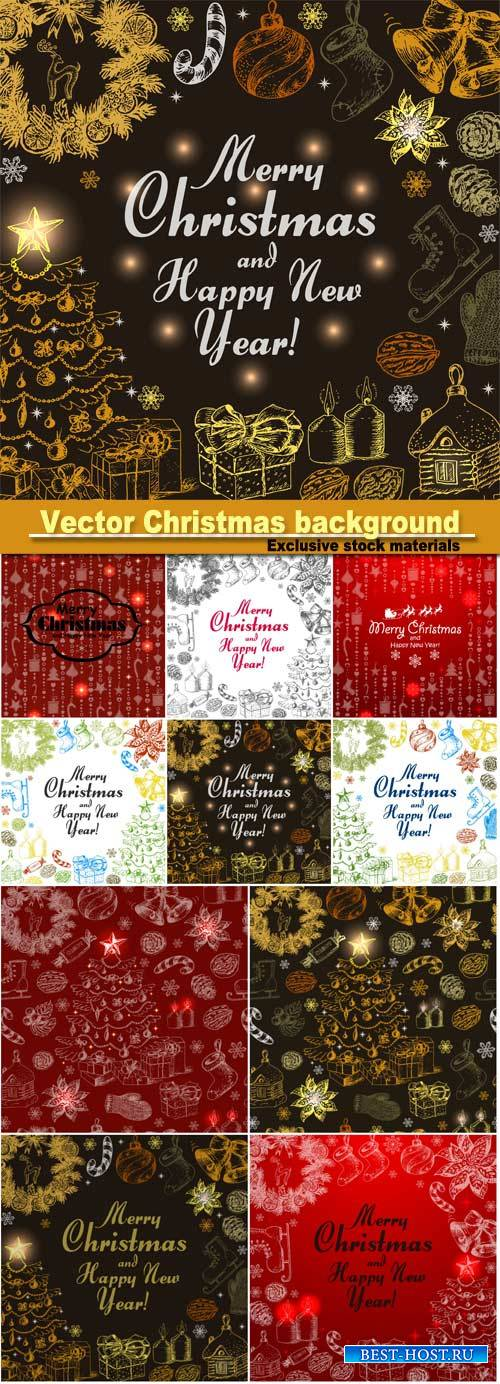 Vector Christmas background, decorative elements