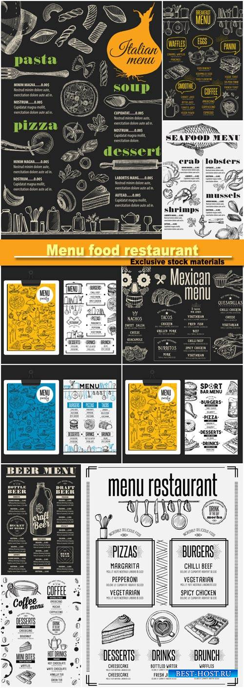 Menu food restaurant, vector food template