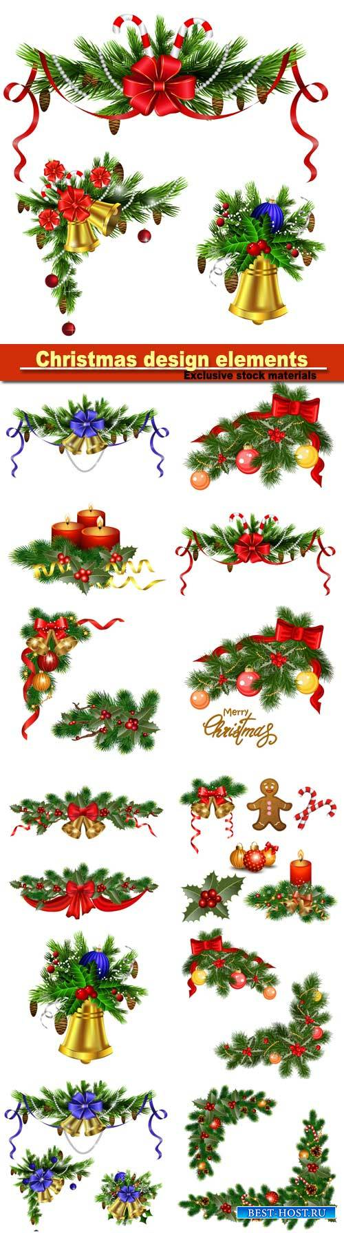 Christmas design elements, background with fir tree, holly and decorative e ...