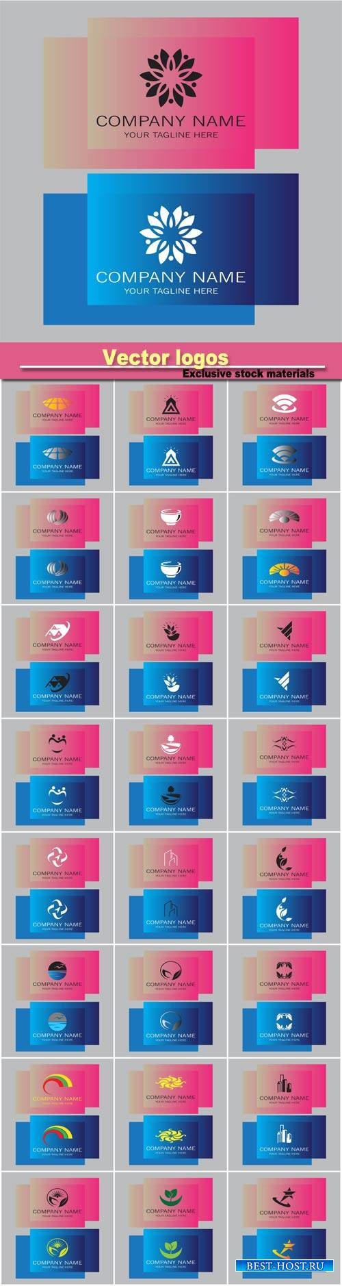 Vector business logos on the pink and blue backgrounds