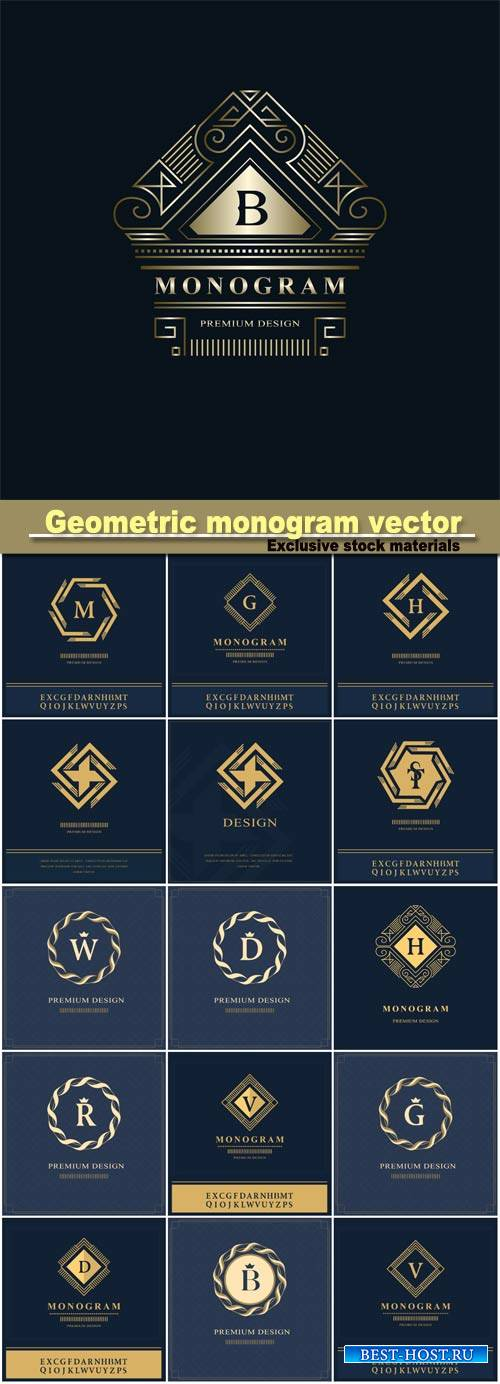 Geometric monogram logo vector