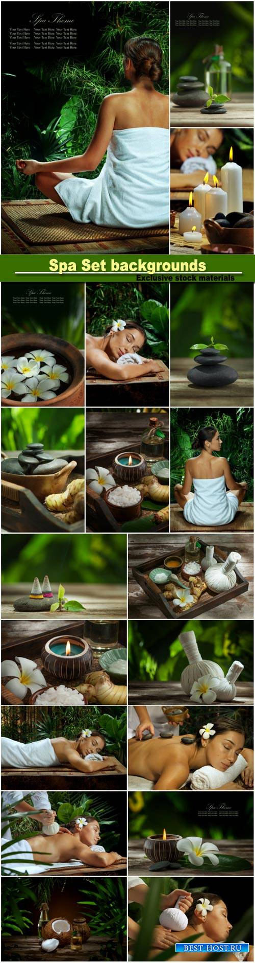 Spa Set backgrounds, woman doing massage