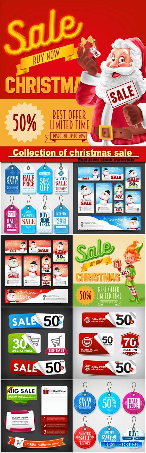 Collection of christmas sale with snowman and Santa Claus