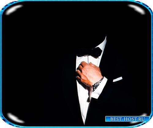 Шаблон для монтажа - Мужчина в черном костюме