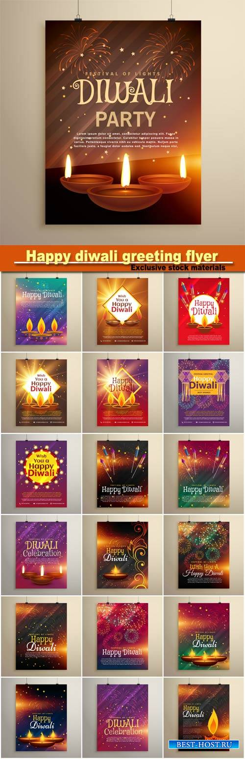 Happy diwali greeting flyer design