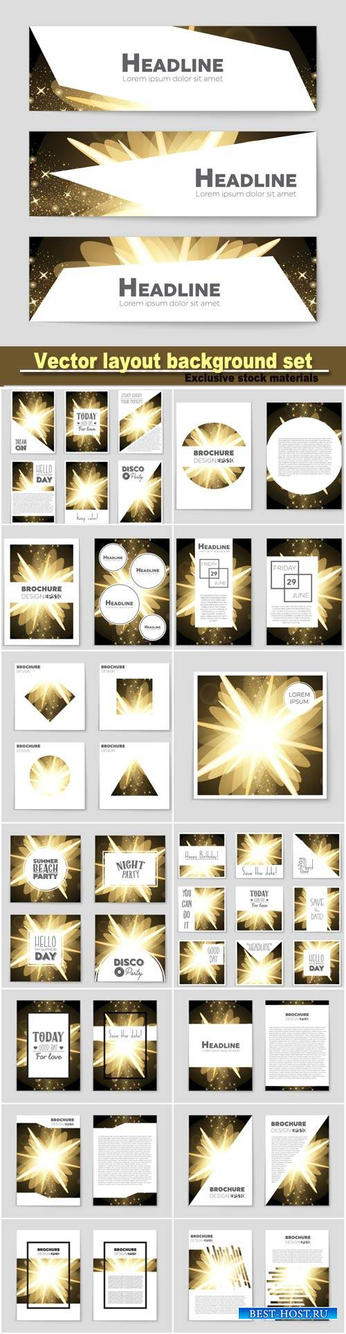 Abstract vector layout background set, mockup brochure theme style