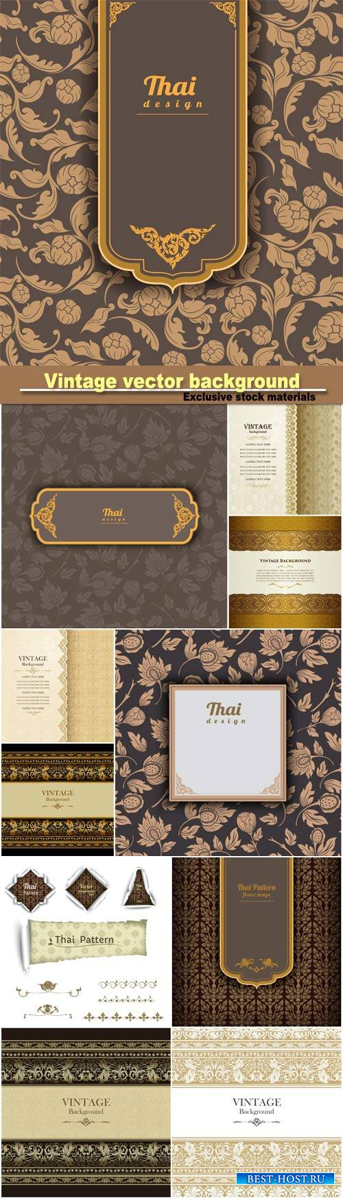 Vintage gold background, floral  ornamental pattern design