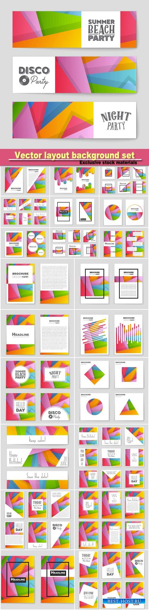 Abstract vector layout background set, art template design, list, page, moc ...