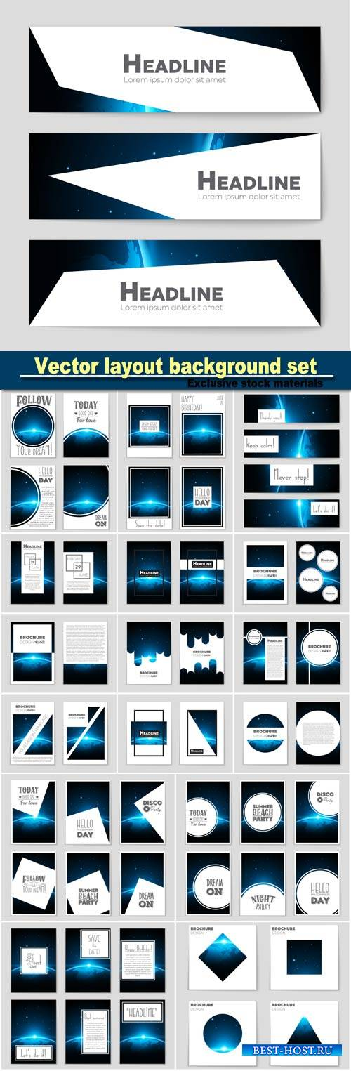 Abstract vector layout background set, mockup brochure theme style, banner