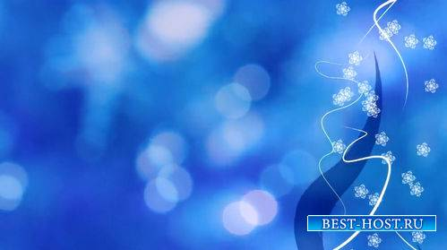 Новогодний футаж - Падающие снежинки на голубом фоне