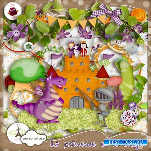 Детский скрап-набор - Принцесса и дракон