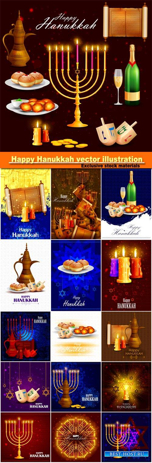Happy Hanukkah for Israel Festival, vector illustration of lights celebrati ...