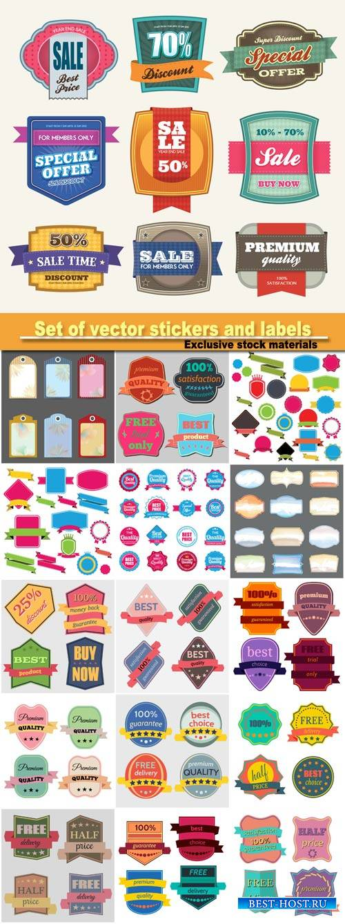 Set of vector badges with ribbons, stickers and labels
