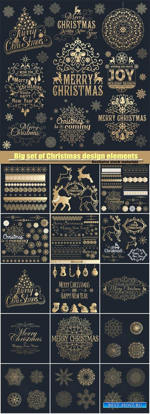 Big set of Christmas calligraphic design elements