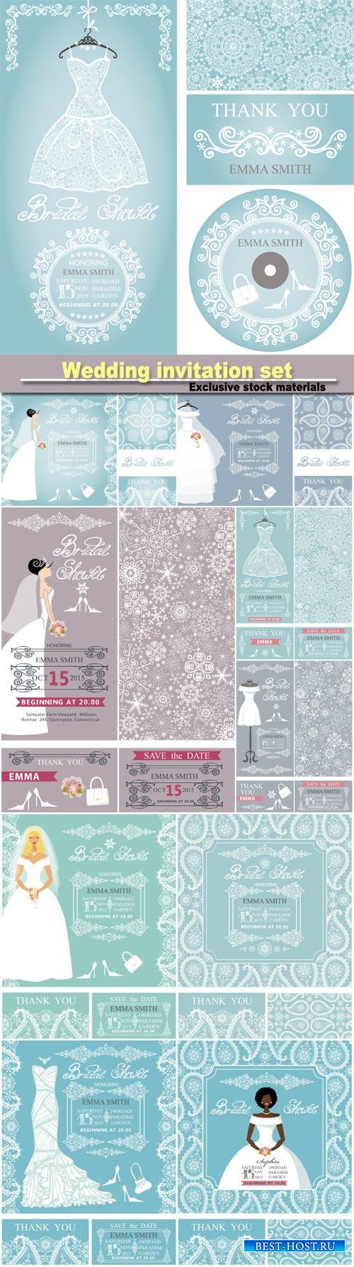 Wedding invitation set, beautiful bride in wedding dress