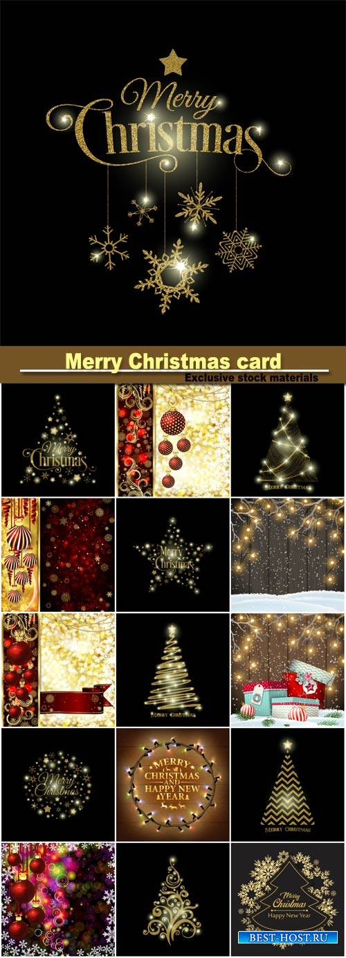 Merry Christmas card, golden Christmas ball, Christmas tree and snowflakes