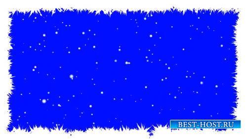 Футаж - Рамка на хромакее с падающим снегом